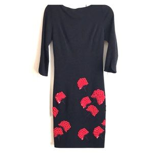 Tory Burch Navy dress with red beaded flowers